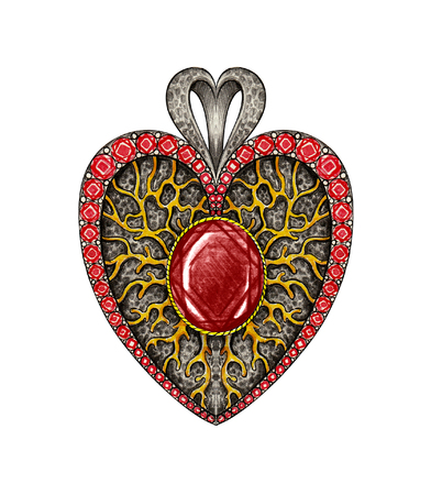 Jewelry Design Art heart pendant. Hand Drawing and painting on paper. Stock Photo