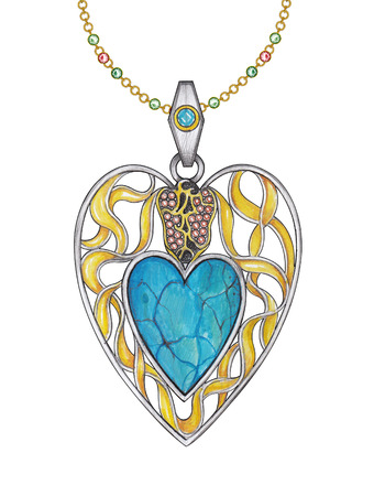 Jewelry Design art heart pendant. Hand pencil drawing and painting on paper.
