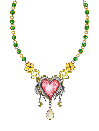 Jewelry Design heart necklace. Hand pencil drawing and painting on paper. Stock Photo - 72727241