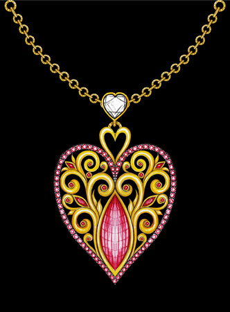 Jewelry Design heart  mix  vintage pendant. Hand Drawing and painting on paper. Stock Photo