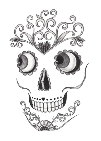 heavy heart: Day of the dead skull.Art design face skull action smiley face day of the dead festival hand pencil drawing on paper.