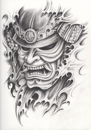 Diseño del tatuaje del guerrero del samurai. Dibujo de lápiz de mano en el papel. Foto de archivo - 76758444
