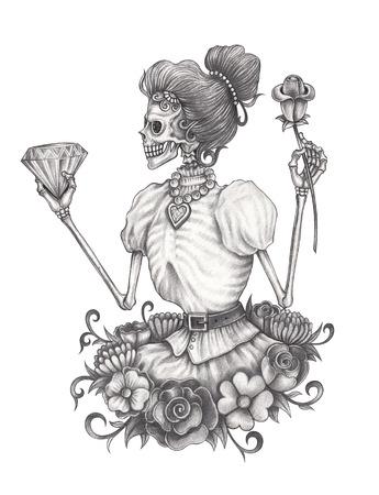 Día Del Cráneo De Las Mujeres De Los Muertos Dibujo A Lápiz De La
