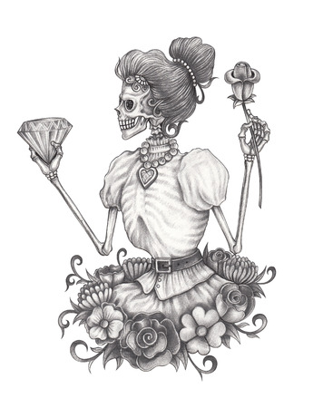 Women Skull Day of the dead.Hand pencil drawing on paper. Stock Photo