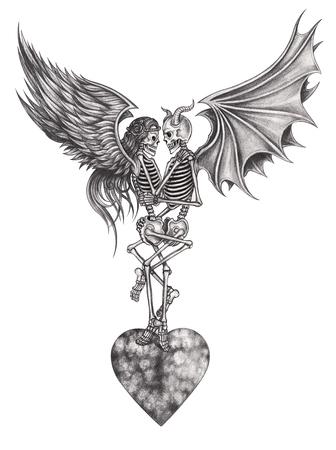 El cráneo del diablo y del ángel hace el amor. Dibujo de lápiz de la mano en el papel.