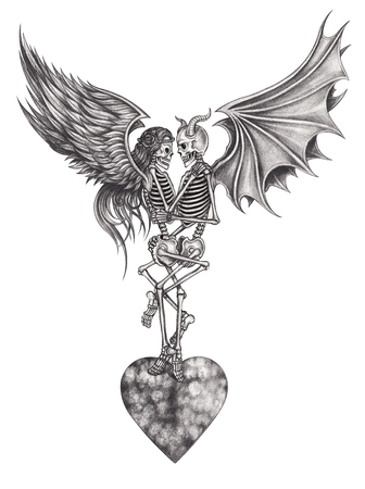 Devil and Angel  skull make love .Hand pencil drawing on paper.