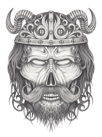 Vikings skull tattoo.Hand pencil drawing on paper.