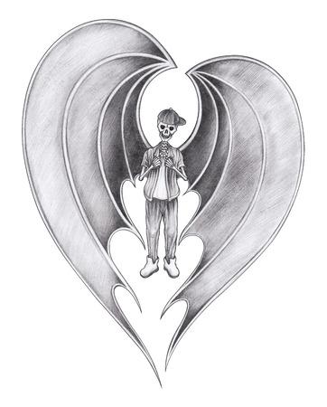 Boy wings devil skull.Hand pencil drawing on paper.