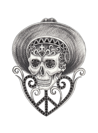 Skull mix gems day of the dead.Hand drawing on paper.