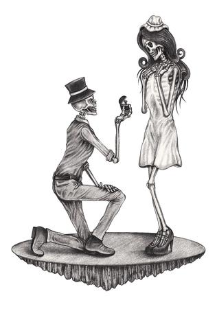 satan: Schädel braucht heiraten Tag der toten.Hand Bleistiftzeichnung auf Papier.