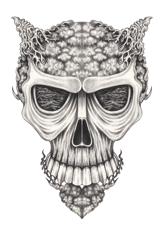 Art surreal skull.Hand pencil drawing on paper.