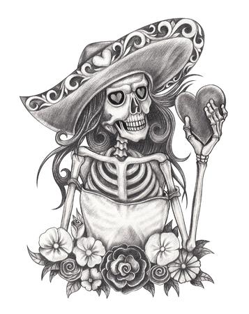 Dia Romantico Del Craneo Del Arte De Los Muertos Dibujo De Lapiz De