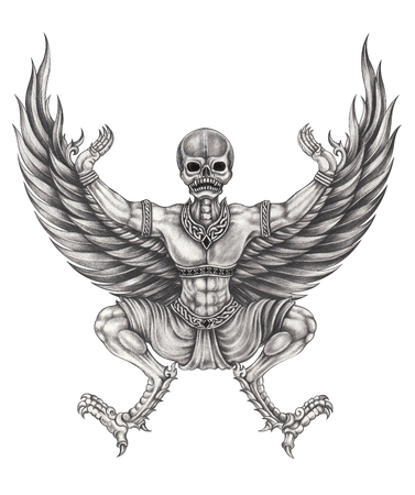 Art eagle surreal skull.Hand pencil drawing on paper.