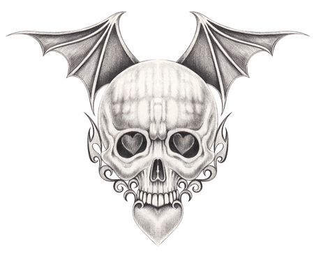 Art wings devil skull tattoo.Hand pencil drawing on paper. Stock Photo