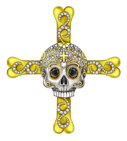 Art skull cross jewelry.Hand drawing and painting  on paper. Stock Photo