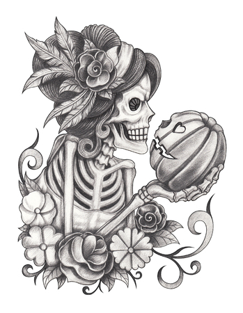 fine arts: Art women skulls day of the dead.Hand pencil drawing on paper.
