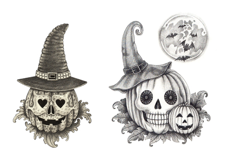 Art pumpkin skulls Halloween.Hand pencil drawing on paper. Stock Photo