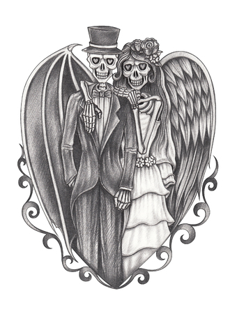 human anatomy: Art  devil and angel wedding skulls.Hand pencil drawing on paper.