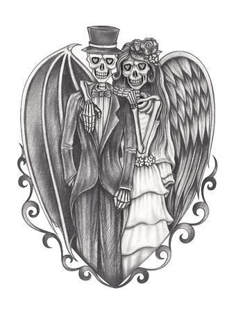 Art duivel en engel bruiloft schedel. Hand potlood tekening op papier.