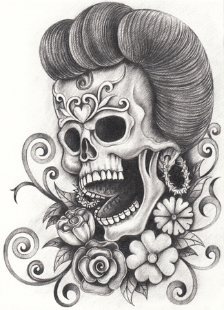 Art skull day of the dead.Hand pencil drawing on paper. Stock Photo
