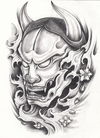 impassive: Kabuki Japanese tattoo.Hand pencil drawing on paper.