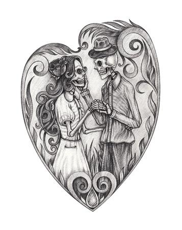 Art design mariage de crânes amoureux. Dessin au crayon à la main sur papier. Banque d'images - 82491857