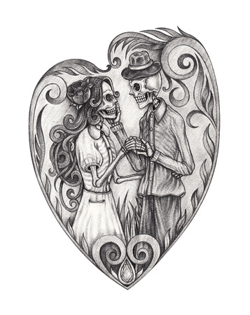 Art design skull wedding in love . Hand pencil drawing on paper.