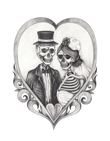 Art design skull wedding in love . Hand pencil drawing on paper. Фото со стока - 82775867