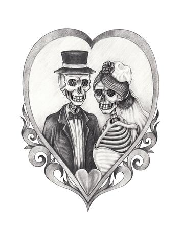 Matrimonio del cranio di design d'arte in amore. Disegno a matita a mano su carta. Archivio Fotografico - 82775867