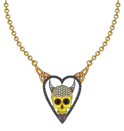 Jewelry Design heart skull necklace.Hand drawing and painting on paper.