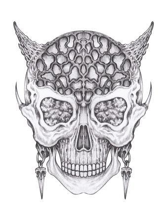 Art surreal devil skull. Hand pencil drawing on paper.