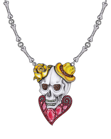Jewelry design skull necklace.Hand drawing and painting on paper.