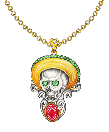 Jewelry design day of the dead skull pendant.Hand drawing and painting on paper.