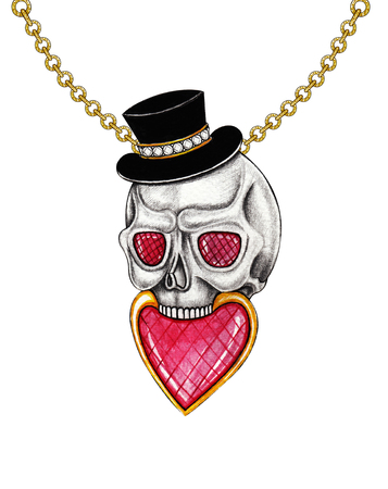 Jewelry design heart mix skull pendant.Hand drawing and painting on paper.