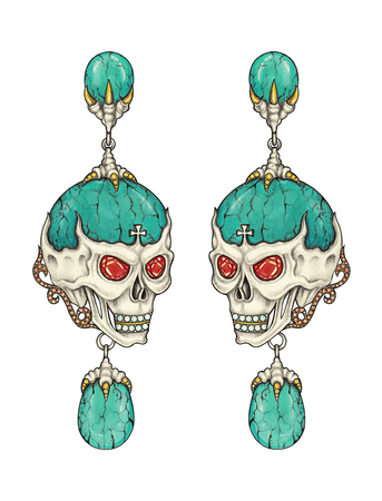 Jewelry design art skull earrings. Hand drawing and painting on paper. Stock Photo