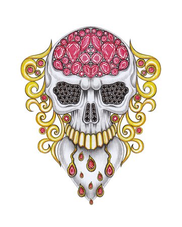 Jewelry Design Vintage mix Skull.Hand drawing and painting on paper.