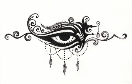 printmaking: Art vintage mix eye tattoo.Hand pencil drawing on paper.