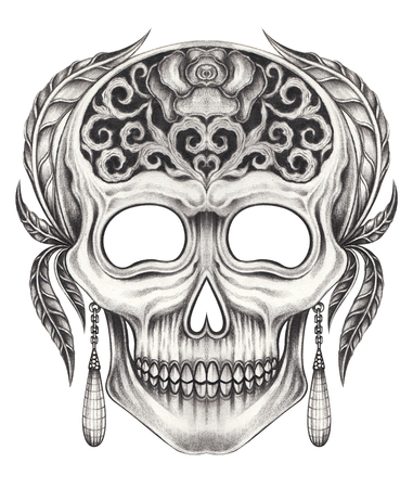 Art surreal mix vintage skull.Hand pencil drawing on paper. Stock Photo