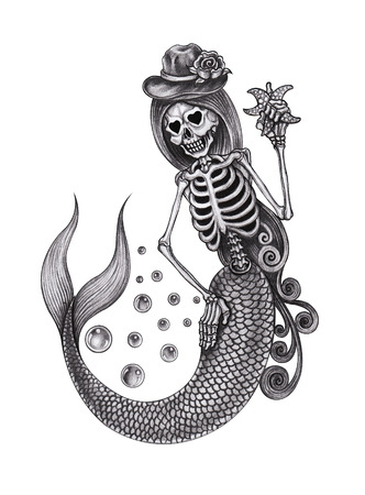 Mermaid Skull. Hand pencil drawing on paper.