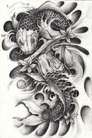 Fancy Carp Fishs Tattoo.Hand dibujo a lápiz sobre papel. Foto de archivo - 85904084
