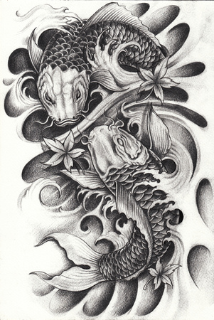 Fancy Carp Fishs Tattoo.Hand pencil drawing on paper. Stock Photo