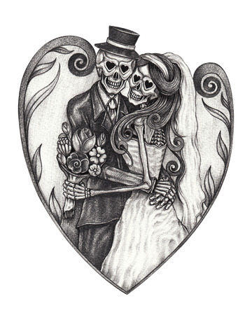 Art design wedding skull day of the dead.Hand pencil drawing on paper. 版權商用圖片