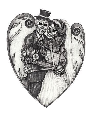 Art design wedding skull day of the dead.Hand pencil drawing on paper. Archivio Fotografico