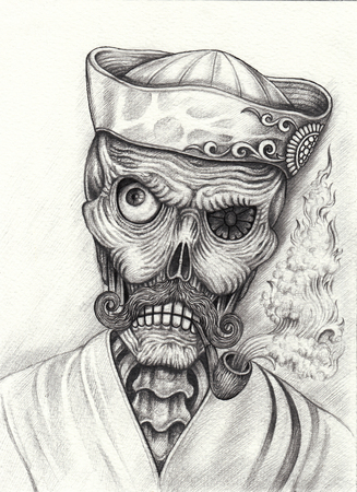Art Design old man skull. Hand pencil drawing on paper.