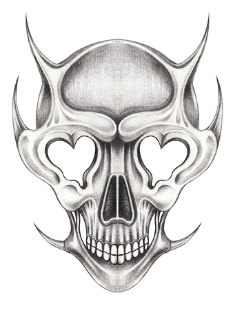 Art design surreal skull tattoo hand pencil drawing on paper.