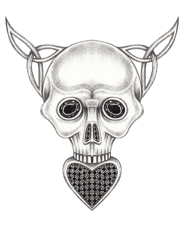 Art Celtic Heart mix Skull. Hand pencil drawing on paper.