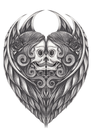 Art Design Angel Skull. Hand pencil drawing on paper.
