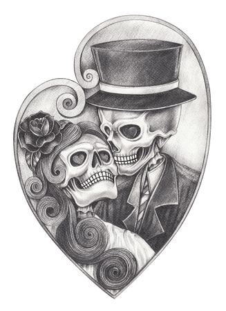 Art romantic skull day of the dead.Hand pencil drawing on paper.