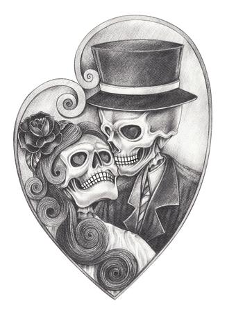 Sztuka romantyczna czaszka dzień zmarłych. Odręczny ołówek rysunek na papierze.