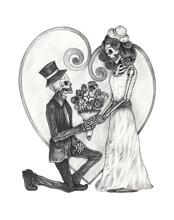 Art Wedding Skull Day of the dead. Hand pencil drawing on paper.
